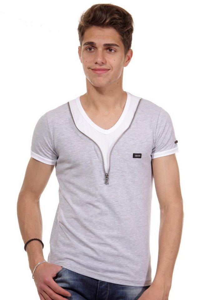 R-NEAL T-Shirt V-Ausschnitt slim fit in grau