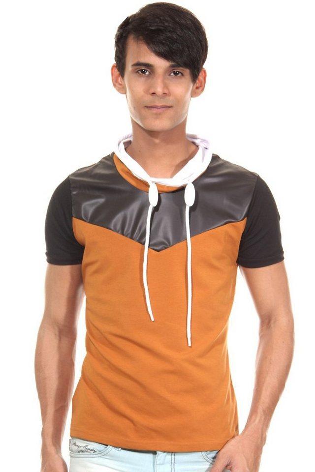 R-NEAL T-Shirt Schalkragen slim fit in camel