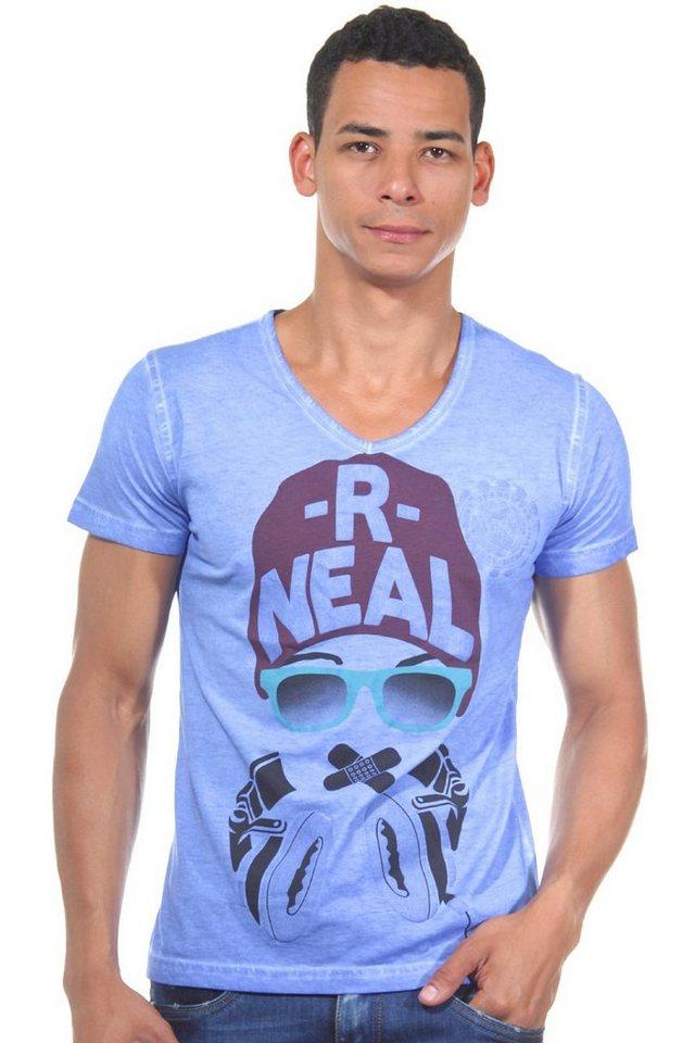 R-NEAL T-Shirt V-Ausschnitt slim fit in blau