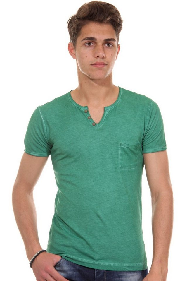 R-NEAL Henley T-Shirt slim fit in grün