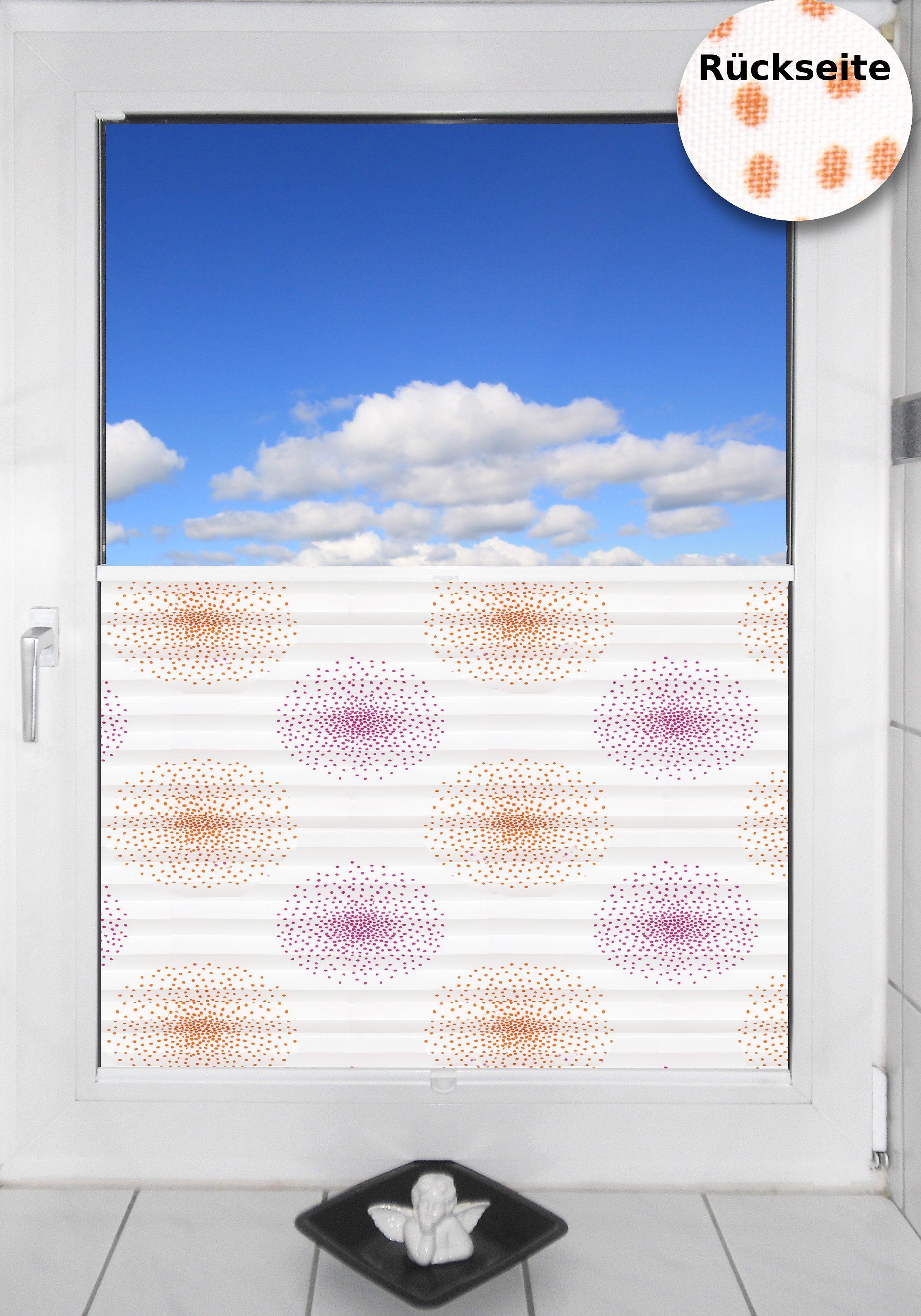 Druck-Plissee-Faltenstore, Sunlines, »Menorca-Blume«, nach Maß, Lichtschutz