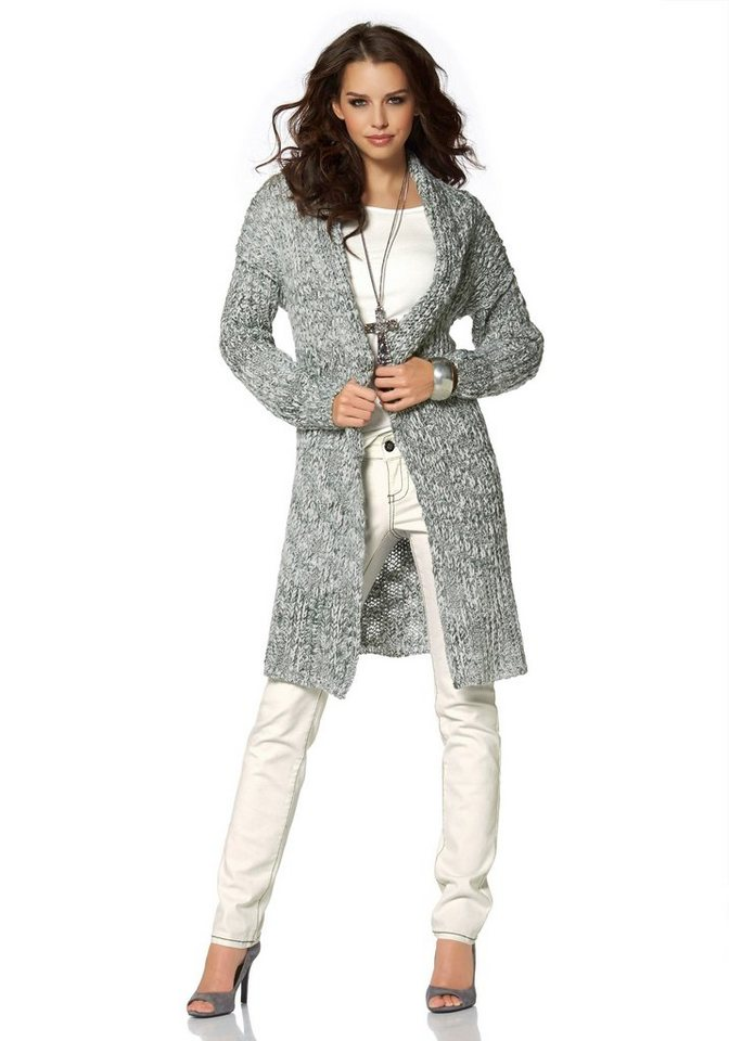 Laura Scott Longstrickjacke oversized in meliert-grau