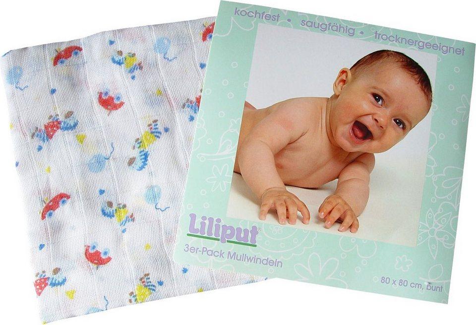 Liliput Mullwindeln bedruckt, 3er Pack in bunt