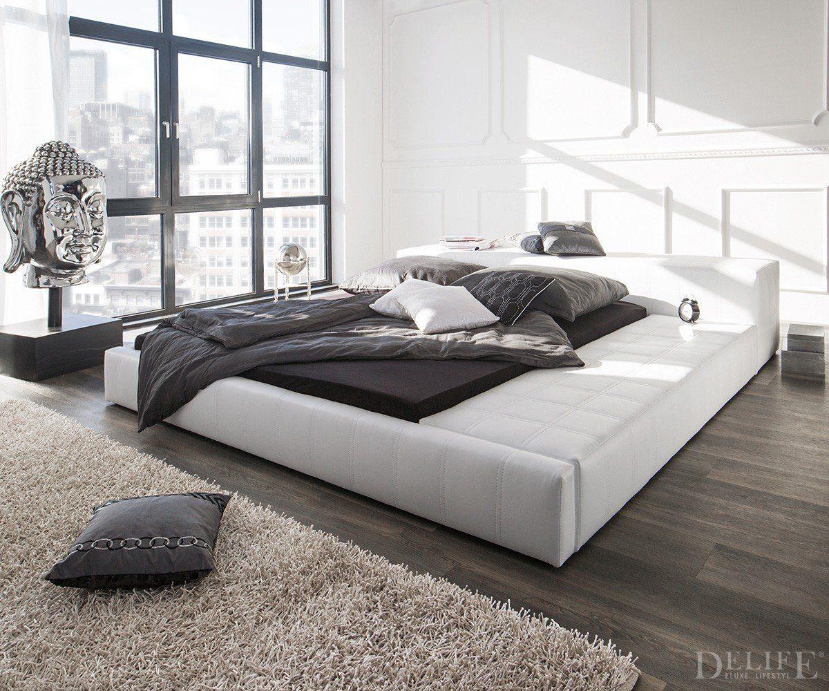 DELIFE Doppelbett Edina Weiss 180x200 gepolstert