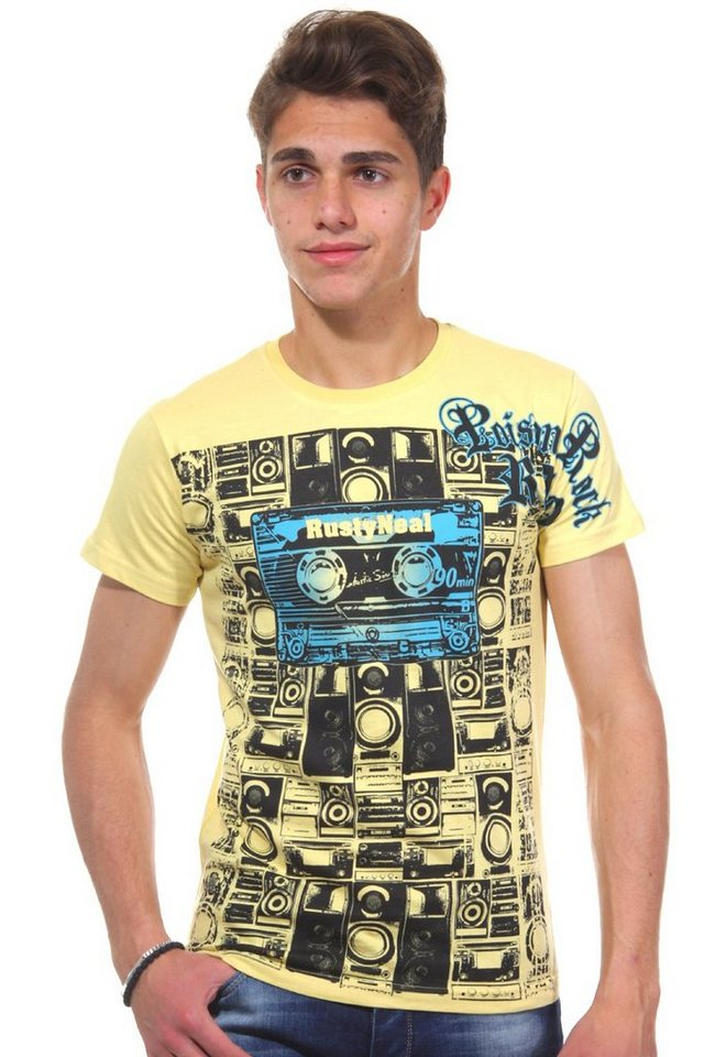 R-NEAL T-Shirt Rundhals slim fit in gelb