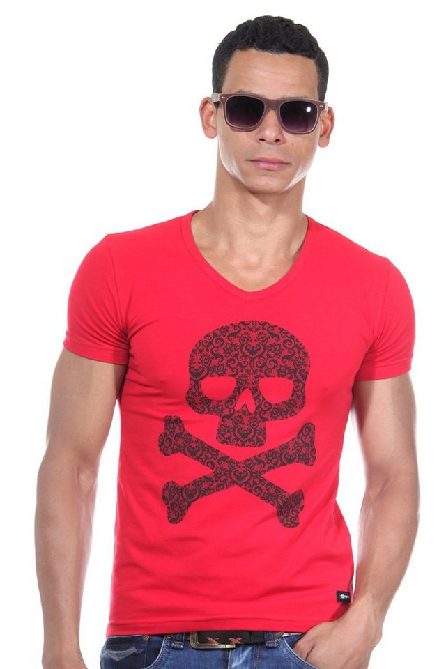 R-NEAL T-Shirt V-Ausschnitt slim fit in rot