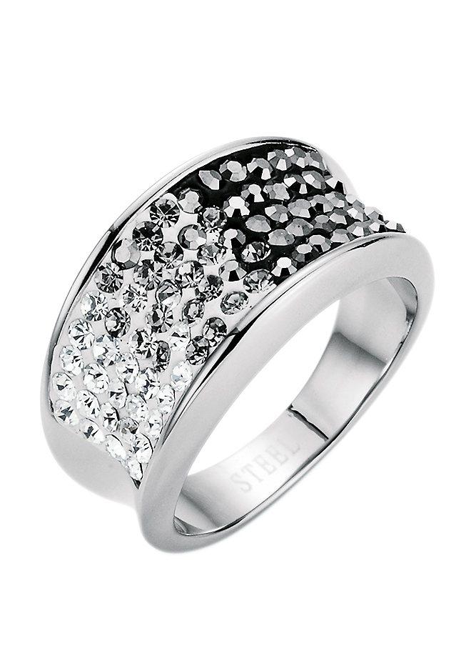 """firetti Ring """"black & white"""" mit Kristallsteinen in silberfarben/weiß/grau/hämatitfarben"""