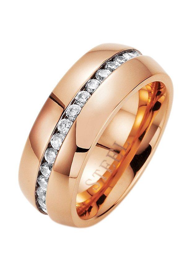 "firetti Ring ""Memoire-Optik"" mit Zirkonia in roségoldfarben"