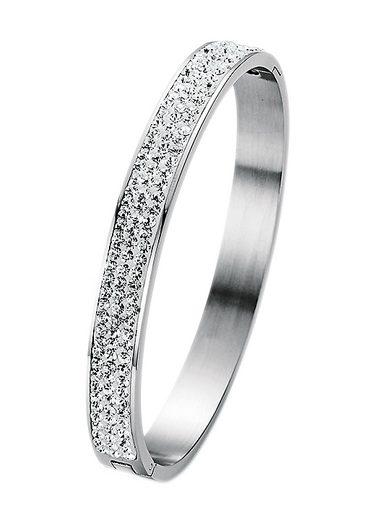 Firetti Armreif »oval, aufklappbar« mit Kristallsteinen