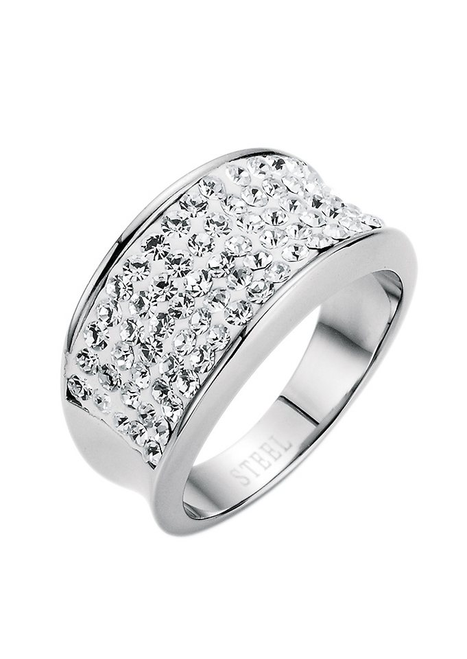 """firetti Ring """"white glamour"""" mit Kristallsteinen in silberfarben"""