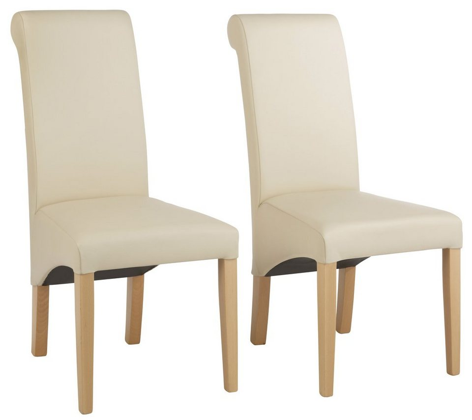 Stühle, Home affaire, »Rito«, wahlweise mit Echtleder- oder Kunstlederbezug (2er, 4er, 6er Set) in beige