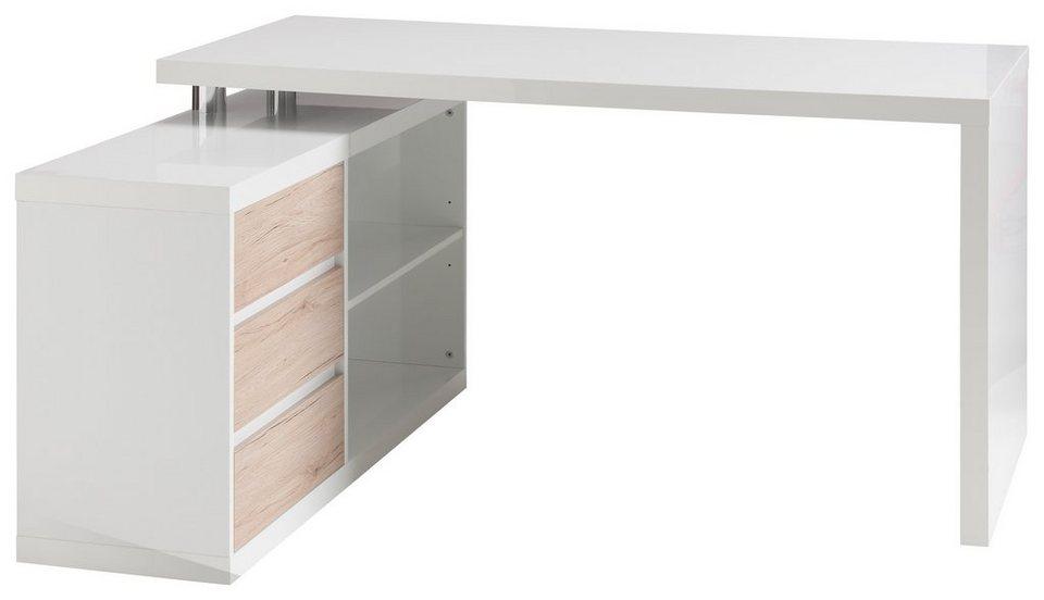 Winkel-Schreibtisch, HMW, »Split« in weiß Hochglanz/sanremo sand Dekor