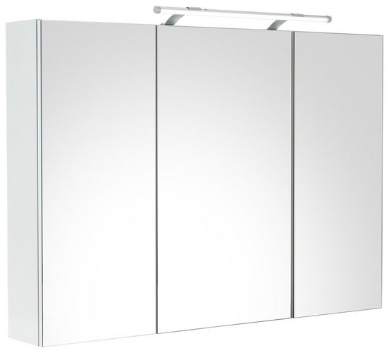 Schildmeyer Spiegelschrank »Dorina« Breite 100 cm, 3-türig, LED-Beleuchtung, Schalter-/Steckdosenbox, Glaseinlegeböden, Made in Germany