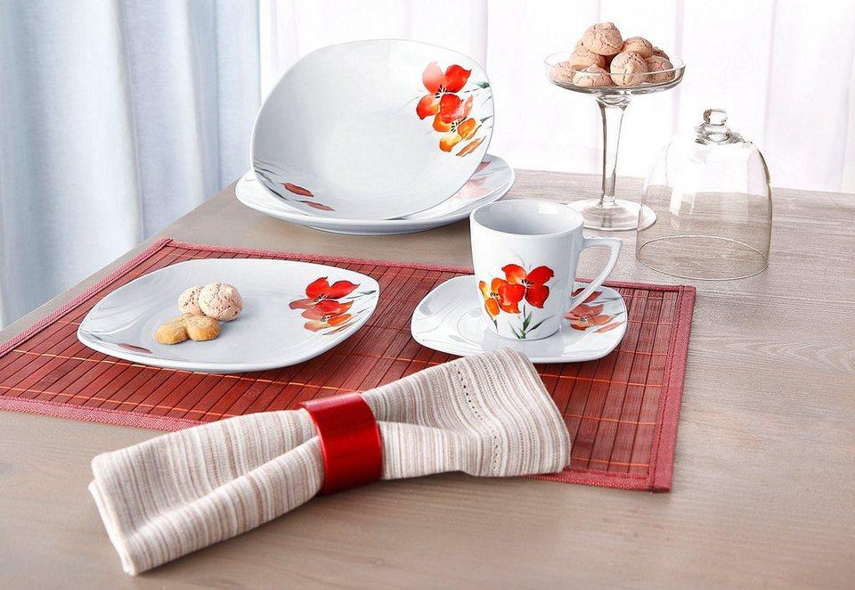 Kombiservice, »Bianca mit Dekor Rote Blume« in Weiß, mit rotem Blütendekor