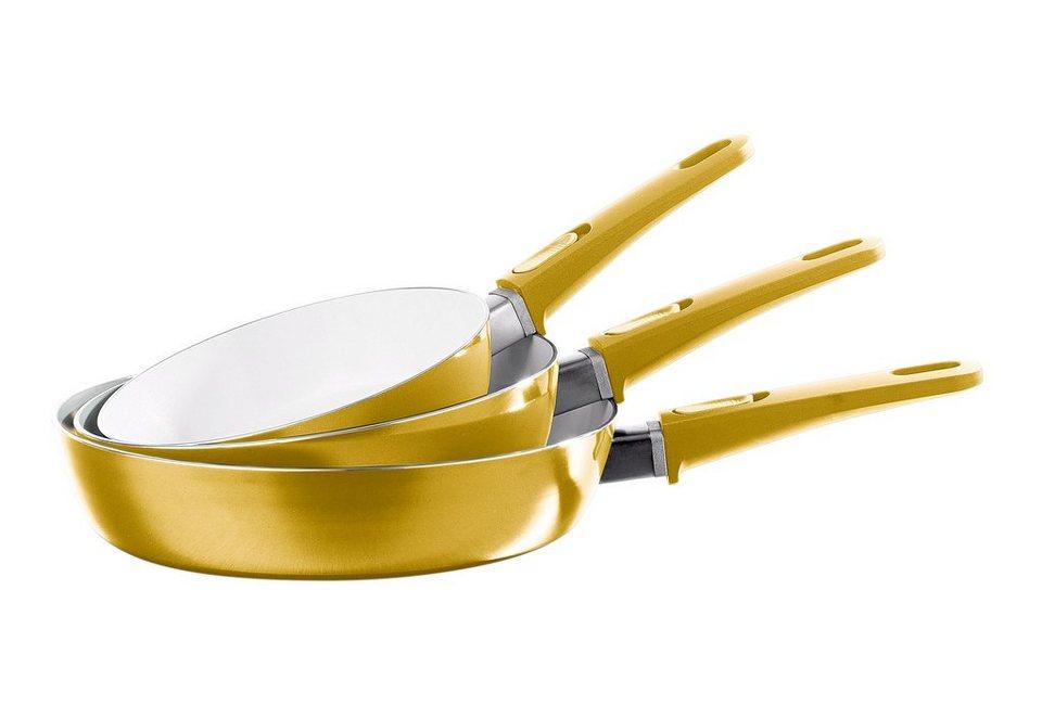 BRATmaxx Hochrandpfannen, Keramik 3er-Set gold, abnehmbare Griffe in goldfarben
