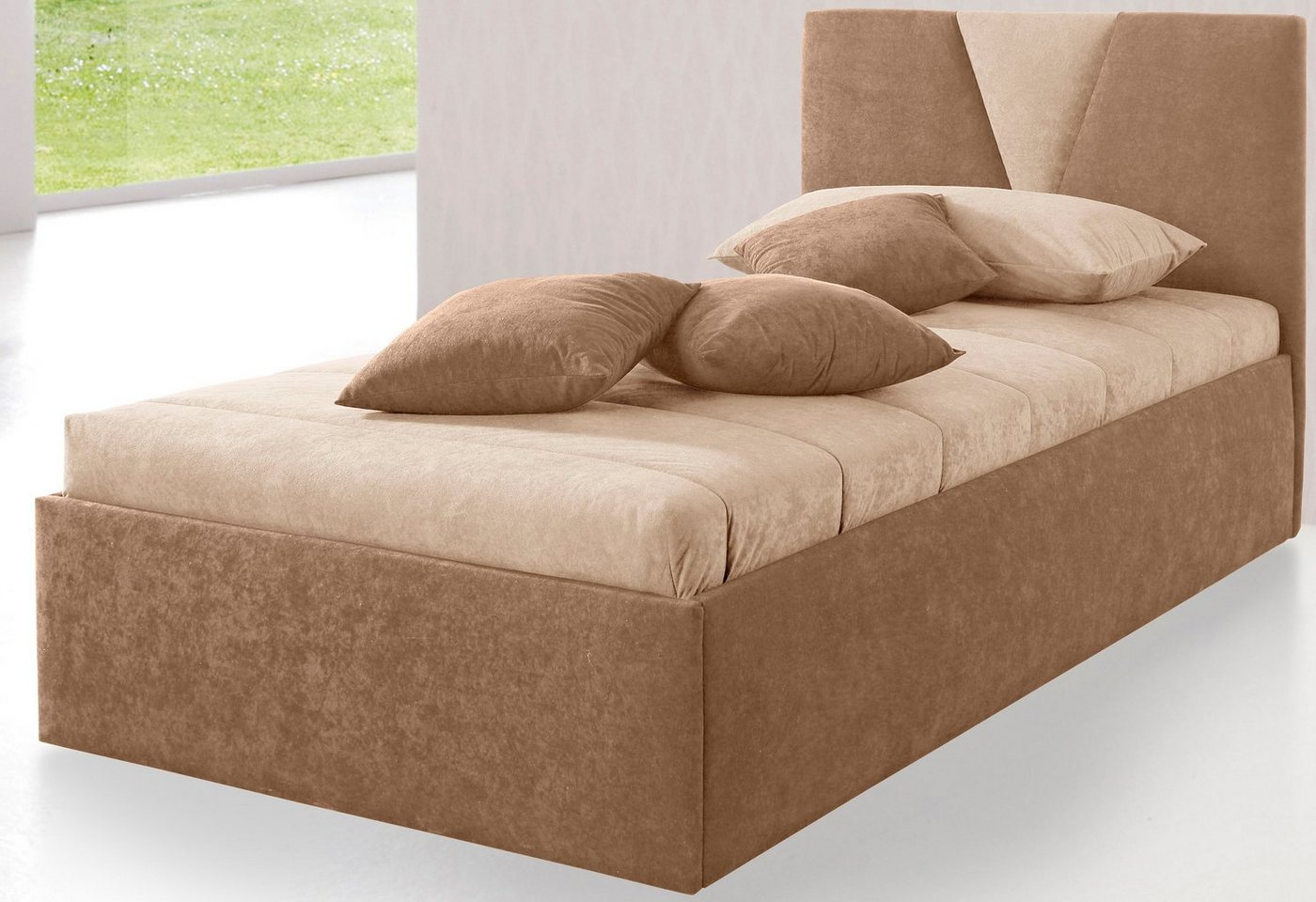 Westfalia Schlafkomfort Polsterbett »Malibu«, wahlweise mit Bettkasten, in 2 Höhen, Microveloursbezug