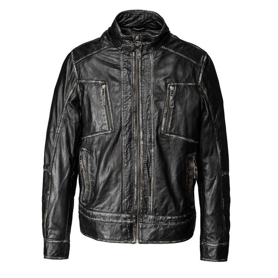 TOM TAILOR Lederblouson, Herren »Fog« in black