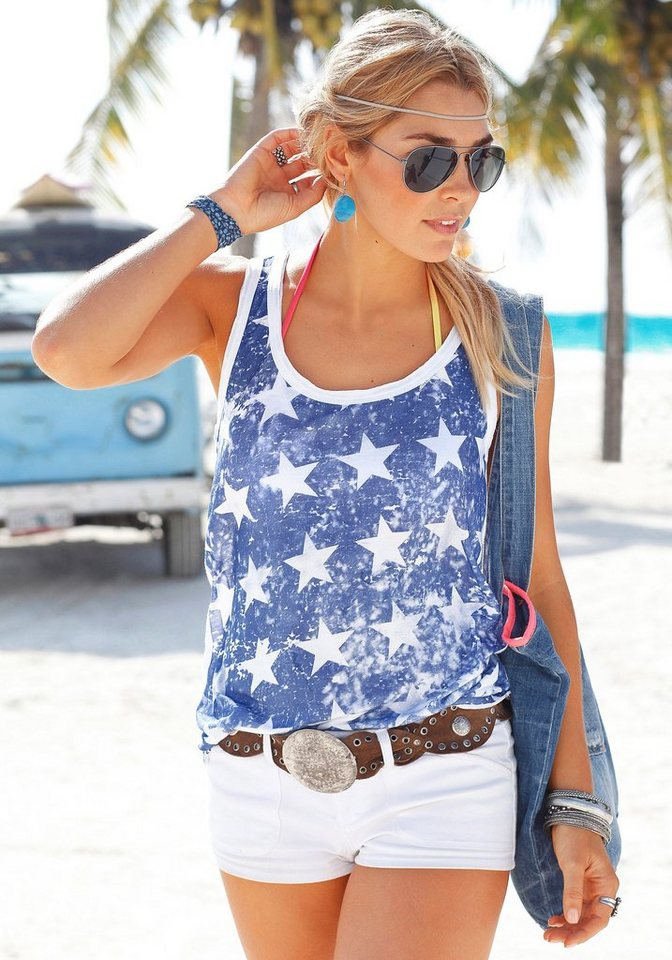 Beachtime Top mit Sternenprint in weiß-blau
