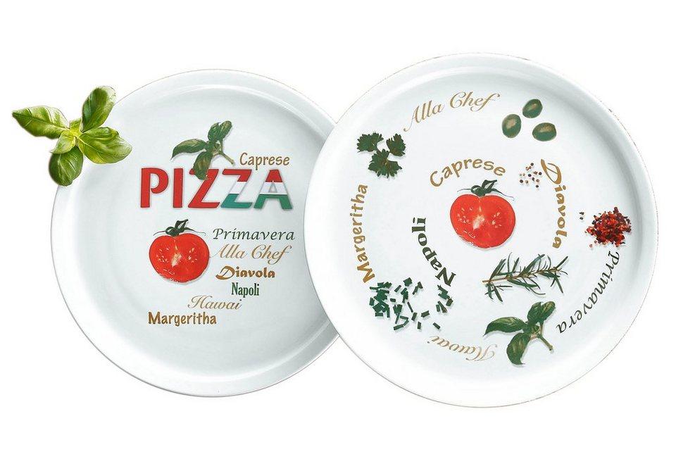 Pizzateller, Retsch Arzberg (6tlg.) in Weiß, mit mediterranem Motiv