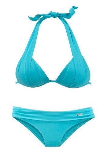 Damen LASCANA Triangel-Bikini mit charmantem Falten-Effekt grün | 08031781170462