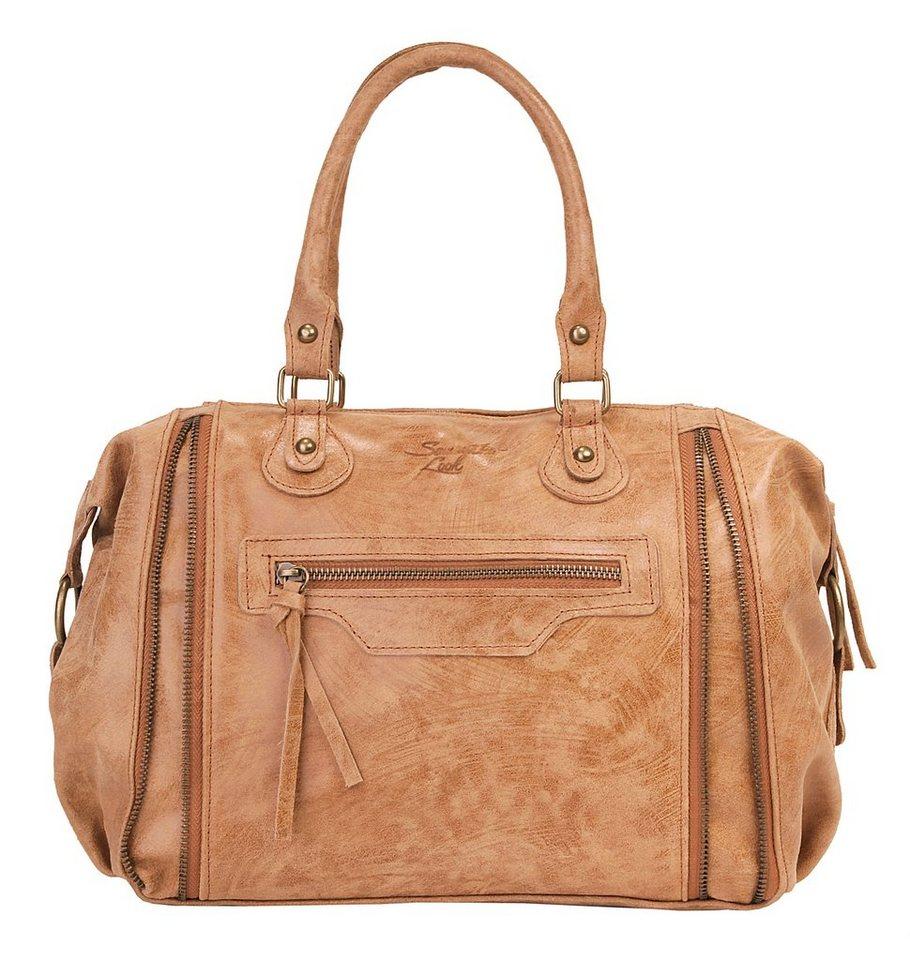 Samantha Look Leder Damen Handtasche in cognac