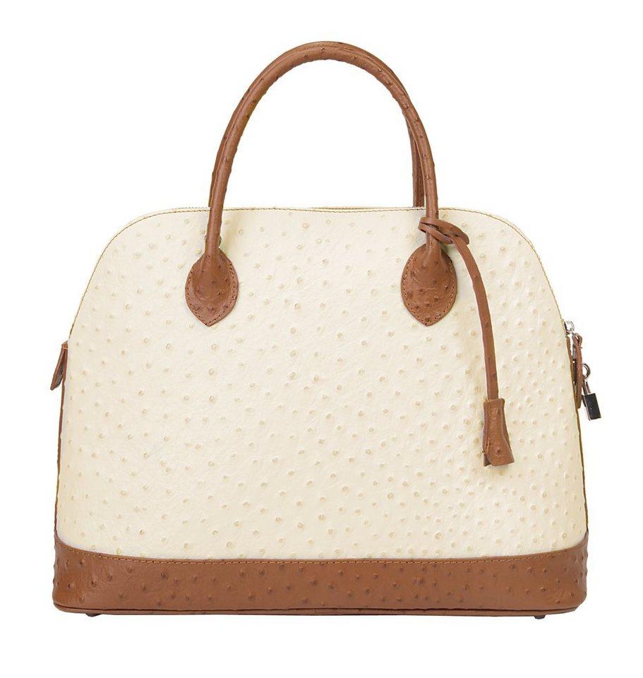 Samantha Look Leder Damen Handtasche in creme