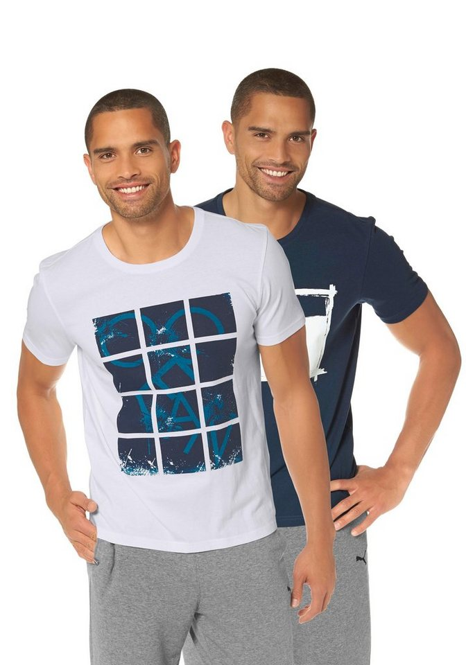 Ocean Sportswear T-Shirt (Packung, 2 tlg.) in weiß-marine