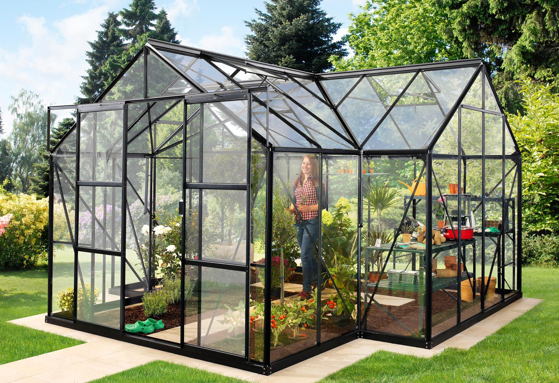 VITAVIA Gewächshaus »Sirius«, BxTxH: 381x381x254 cm, schwarz, 3 mm, mit Fundamentrahmen | Garten > Gewächshäuser | Gehärtetes - Glas | Vitavia