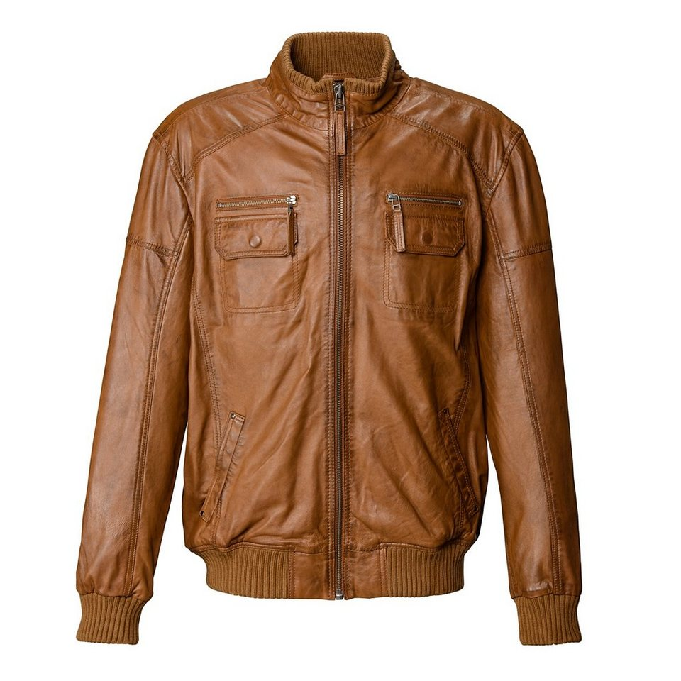 TOM TAILOR Lederblouson, Herren »Nanno« in cognac