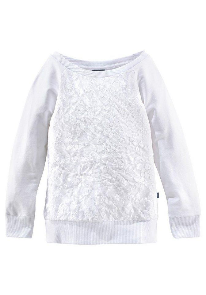Arizona Sweatshirt mit Spitze in weiß