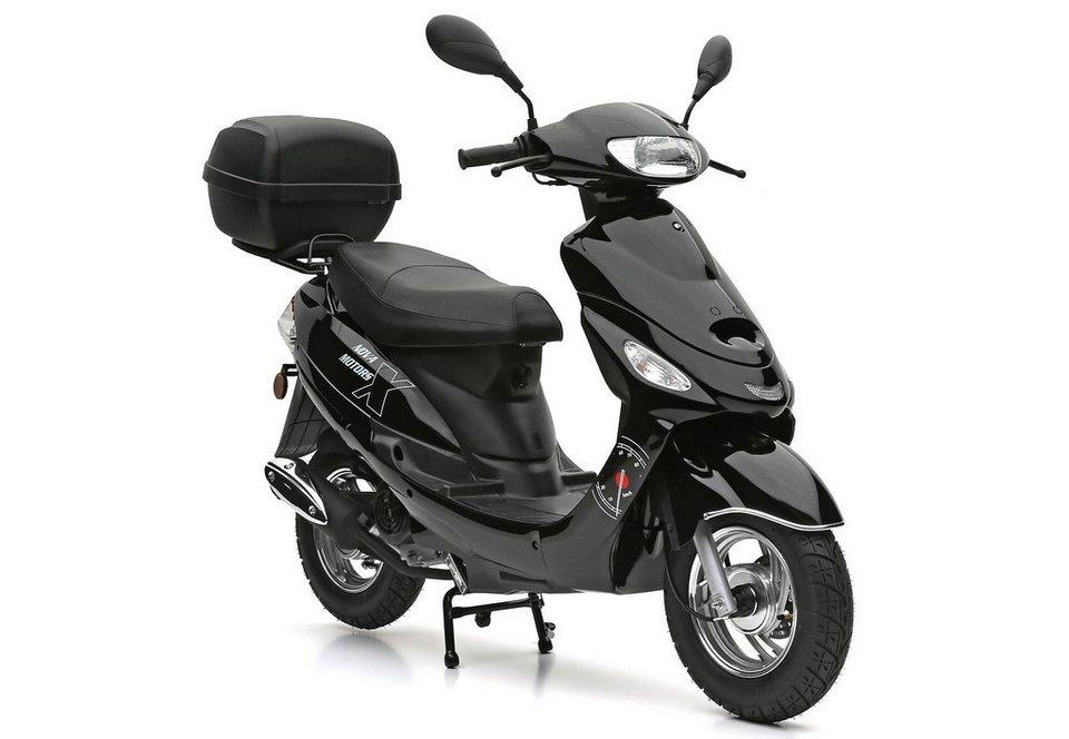 SET: Motorroller inkl. Topcase, 49-ccm, 45 km/h, »Eco Fox«, Nova Motors in schwarz