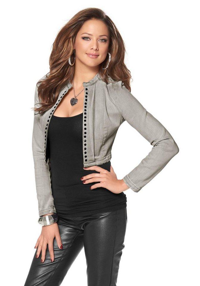 Melrose Jeansjacke mit Nieten in grau