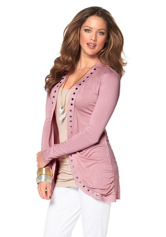 Melrose Shirtjacke mit Nieten in rosa