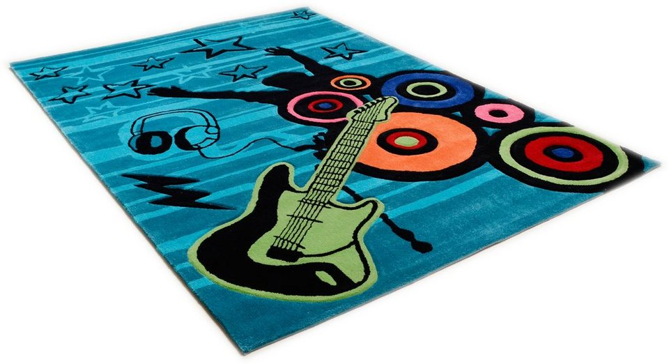 Kinder-Teppich, Theko, »Freude zur Musik«, handgearbeitet in tuerkis