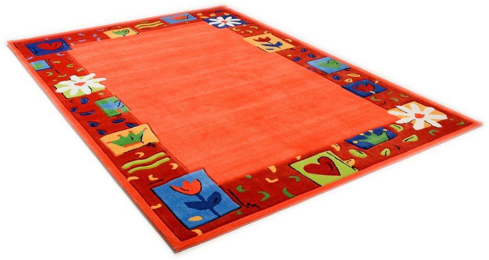 Kinder-Teppich, Theko, »Das Blumen Paradies«, handgearbeitet in orange
