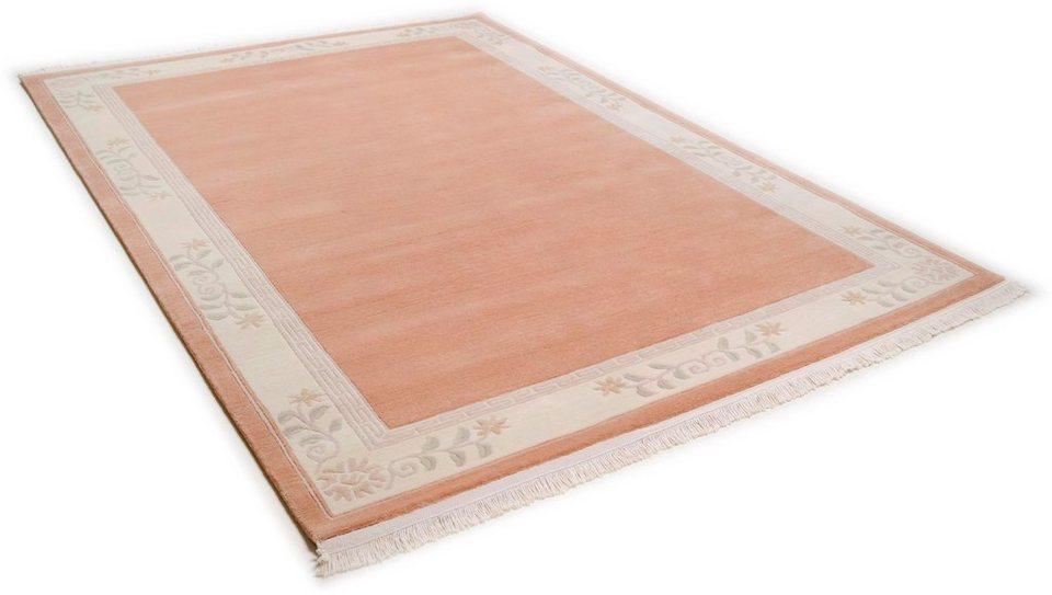 Teppich, Theko, »Classica«, handgeknüpft, Wolle in rose
