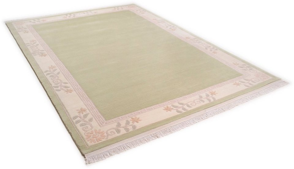 Teppich, Theko, »Classica«, handgeknüpft, Wolle in gruen