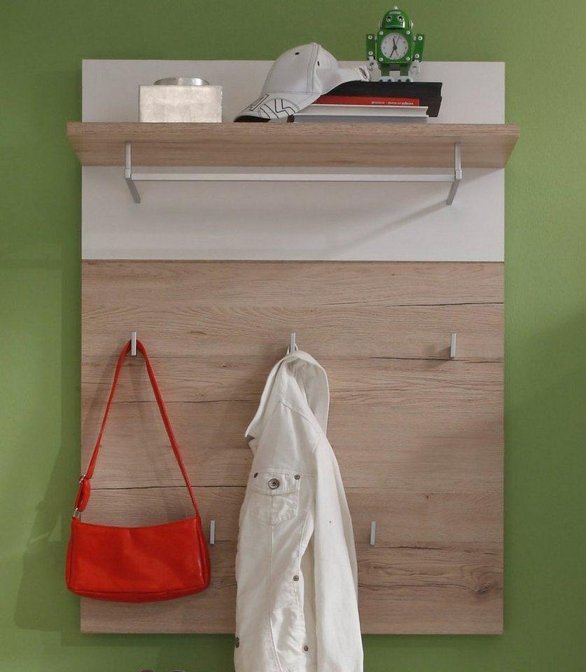 Garderobenpaneel »CAMPUS« in weiß / San Remo Eiche hell