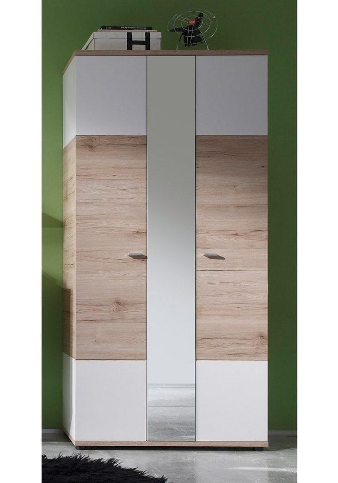 Garderobenschrank »CAMPUS«, mit Spiegel in weiß / San Remo Eiche hell