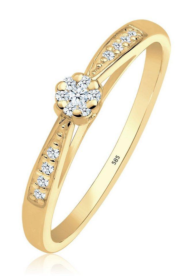 DIAMORE Ring »Verlobungsring Diamant 0.16 ct. 585 Gelbgold« in Gold