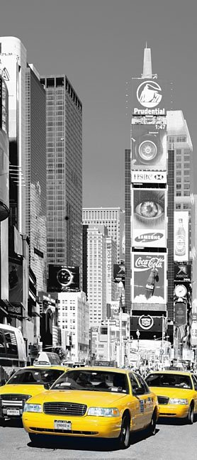 Türposter, Home affaire, »NYC Times square«, 86/200 cm in grau/gelb