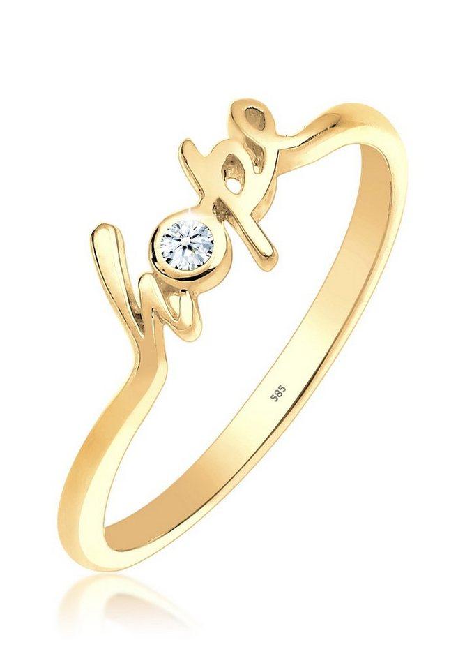 Elli Ring »Hope-Schriftzug Diamant 0.03 ct. 585 Gelbgold« in Weiß