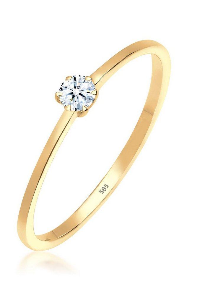 DIAMORE Ring »Solitär Verlobung Diamant 0.10 ct. 585 Gelbgold« in Weiß