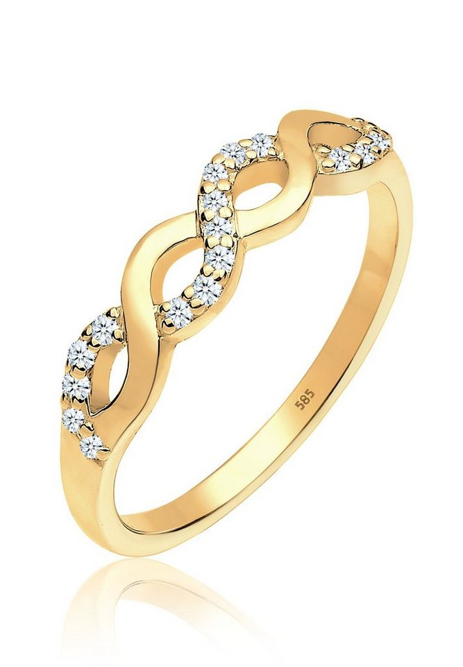 DIAMORE Ring »Infinity Verlobung Diamant 0.18 ct. 585 Gelbgold« in Weiß