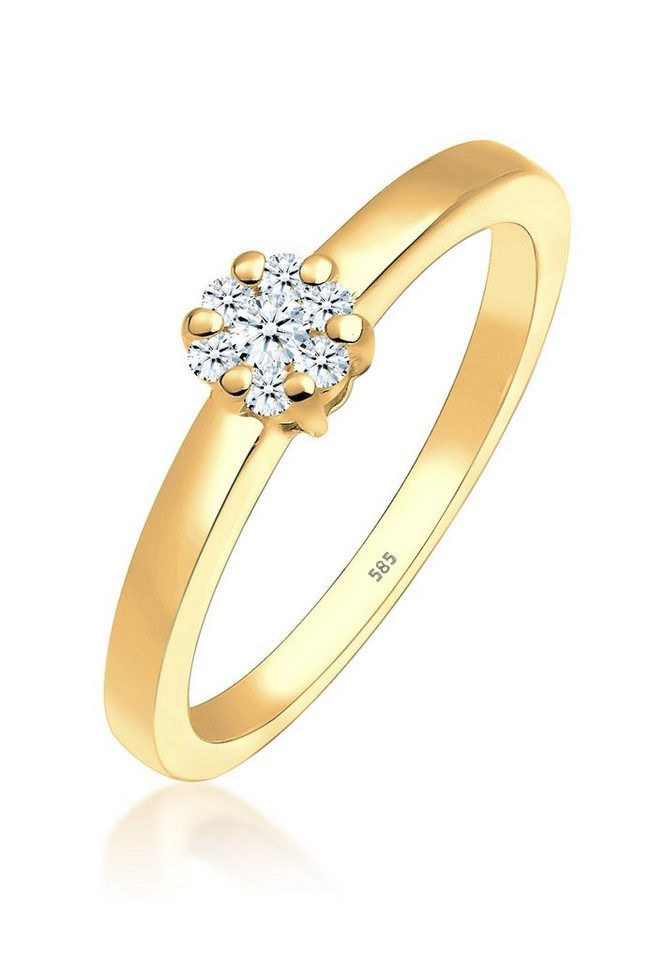 DIAMORE Ring »Solitär Verlobung Diamant 0.15 ct. 585 Gelbgold« in Gold