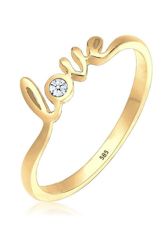 Elli Ring »Love-Schriftzug Diamant 0.03 ct. 585 Gelbgold« in Gold
