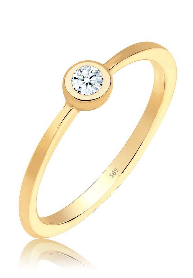 DIAMORE Ring »Verlobungsring Diamant 585 Gelbgold« in Weiß