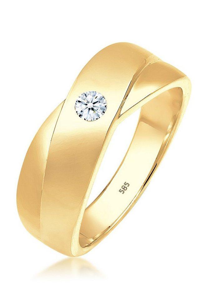 DIAMORE Ring »Klassisch Diamant 585 Gelbgold« in Weiß