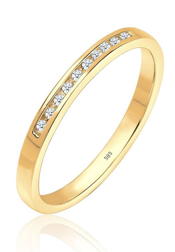 Diamore Ring »Verlobung Bandring Diamant 0.10 ct. 585 Gelbgold« in Gold