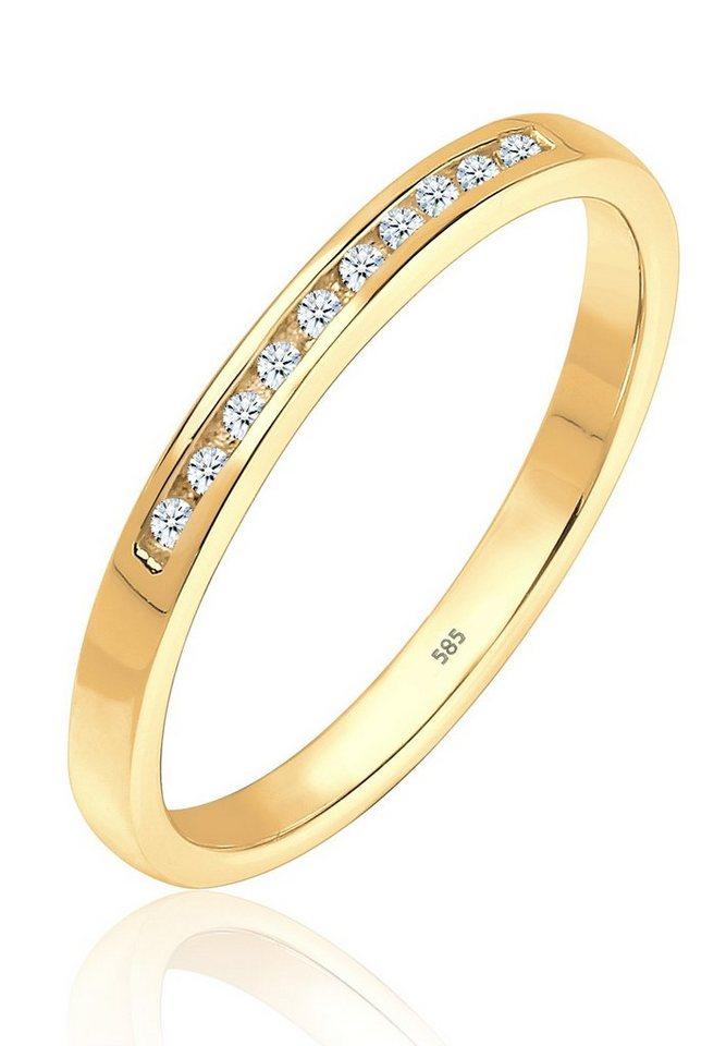 DIAMORE Ring »Verlobung Bandring Diamant 585 Gelbgold« in Gold